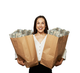 amazed happy woman with money