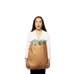 amazed woman with money