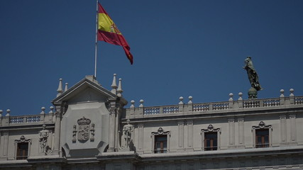 Spanish Flag on top of royal palace Barcelona