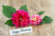Happy Birthday card with pink dahlia