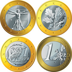 vector set money gold coin one euro