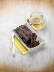 brownie with cup of tea