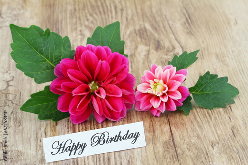 Deurstickers Dahlia Happy Birthday card with pink dahlia