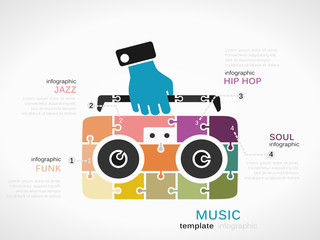 Music concept infographic template with cassette