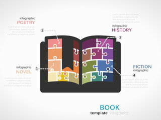 Literature concept infographic template with book