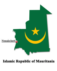 Map of Mauritania in colors of its flag in English isolated