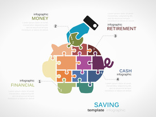 Saving concept infographic template with piggy bank