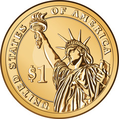 Vector American gold coin one dollar