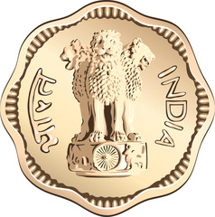 vector Indian money coin with lions