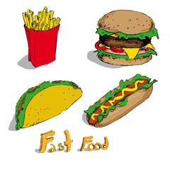 Set of fast foods