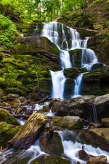 Beautiful waterfall landscape (Ukrainian Carpathian)