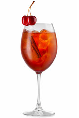 Orange alcohol cocktail with cherry berries isolated