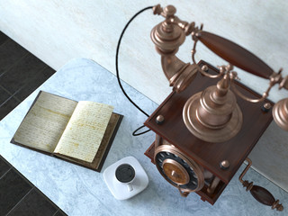 Vintage telephone on old wall with book and coffee cup