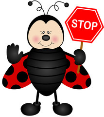 Ladybird with a street stop sign