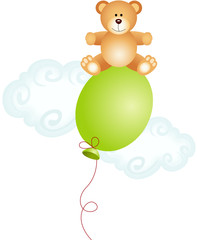 Teddy bear sitting on top balloon