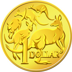 vector Australian Money, gold Dollar with the image of a kangaro