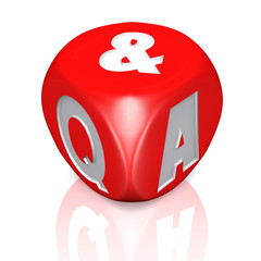 Questions and answers dice with reflection