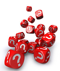 Red question mark dices falling down