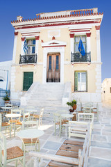 Architecture on the Cyclades. City Hall of Serifos in Greece.