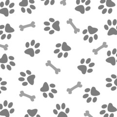 Grey Dog and Bone Pattern