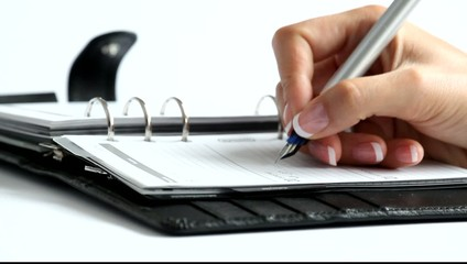 Hand Frau schreibt