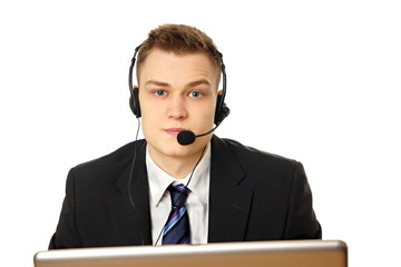 Young customer service man operator