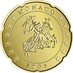 vector Money money gold eurocent monaco