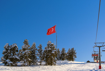 Flag of Turkey on the top of mountain in Sarikamis at sunset
