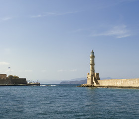 Lighthouse in the harbor of Chania