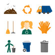 Garbage icons flat
