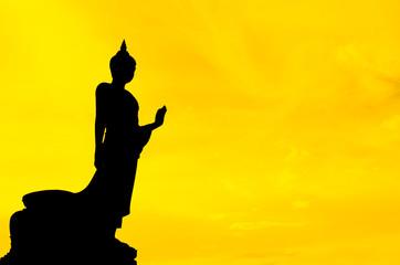 Silhouette buddha sculture