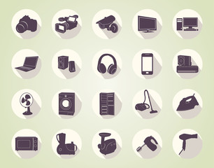 vector icons of home appliances