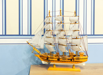 Close up shot of sail ship model
