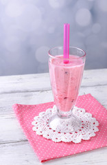 Glass of raspberry smoothie drink