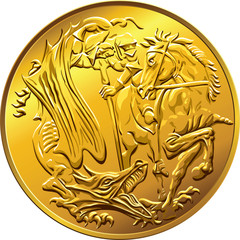 Vector British money gold coin sovereign, with the image of St.