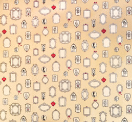 Vintage pattern with mirror icons.