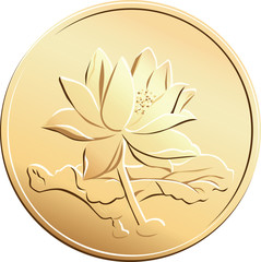 vector Chinese coin with a picture of a flower