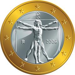vector Italian money gold coin one euro (Vitruvian Man)