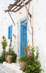 Architecture on the Cyclades. Greek Island buildings with her ty