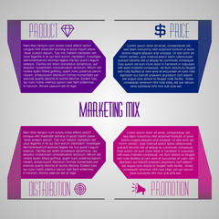 Editable marketing mix template with icons 4P