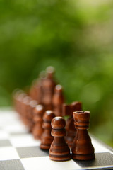 Chess board with chess pieces on bright background