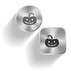 Pumpkin. Vector set steel buttons