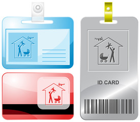 Family home. Vector id cards.