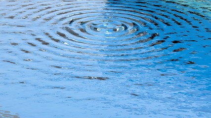 Circular ripples on clear surface of water closeup