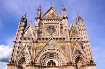 Ornate facade of the Duomo of Orvieto, Italy