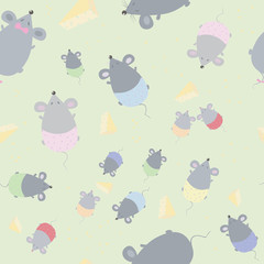children's seamless texture with mice