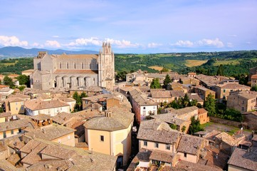 View over the old town of Orvieto, Italy with duomo