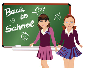 Back to School. Cute little schoolgirls. vector