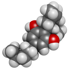 Cannabidiol (CBD) cannabis molecule. Has antipsychotic effects.