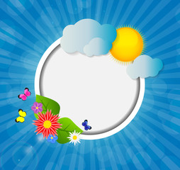 Frame on Sunny Shiny Background Vector Illustration
